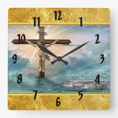 Jesus hanging from a christian crucifixion cross square wall clock