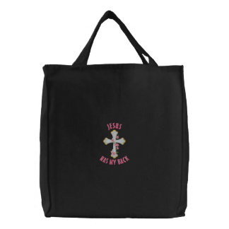 Jesus Has My Back Embroidered Tote Bag