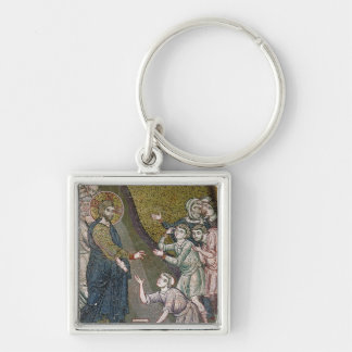 Jesus Healing the Crippled and the Blind Silver-Colored Square Keychain
