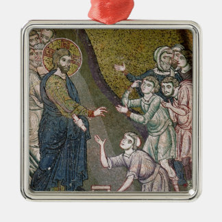 Jesus Healing the Crippled and the Blind Square Metal Christmas Ornament