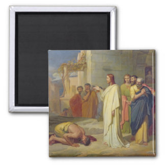 Jesus Healing the Leper, 1864 2 Inch Square Magnet