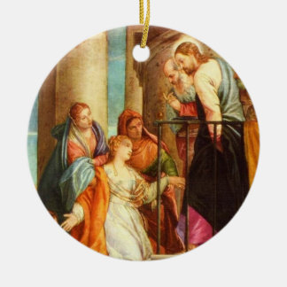 Jesus heals a woman's 10 year bleeding disorder Or Ceramic Ornament