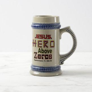 Jesus,hero above zeroes beer stein
