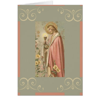 Jesus holding Chalice First Holy Communion Card