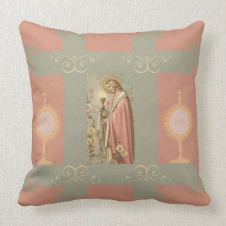 Jesus holding Chalice with Eucharist Monstrance Throw Pillow