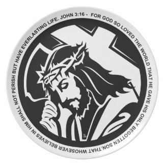 Jesus holding Cross with John 3:16 quote Melamine Plate