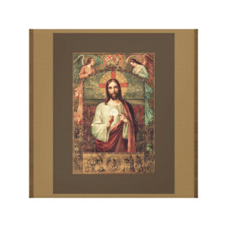 Jesus holding Eucharist Host with Angels Above Canvas Print