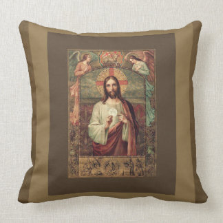 Jesus holding Eucharist Host with Angels Above Throw Pillow