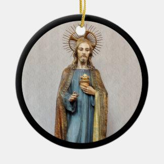 Jesus Holding Sacred Heart Ceramic Ornament