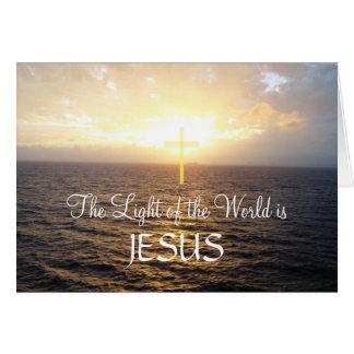 Jesus Holy Cross Ocean Sunset Card