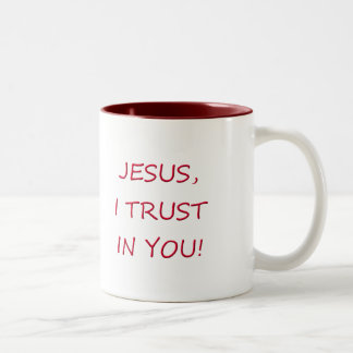 Jesus I trust in you Two-Tone Coffee Mug