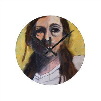 Jesus in a White T-Shirt Round Clock