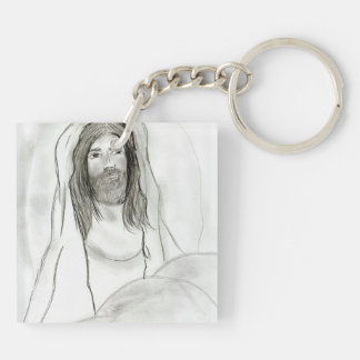 Jesus In Cave Double-Sided Square Acrylic Keychain