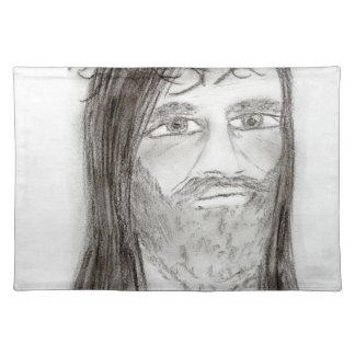 Jesus In Charcoal Placemat