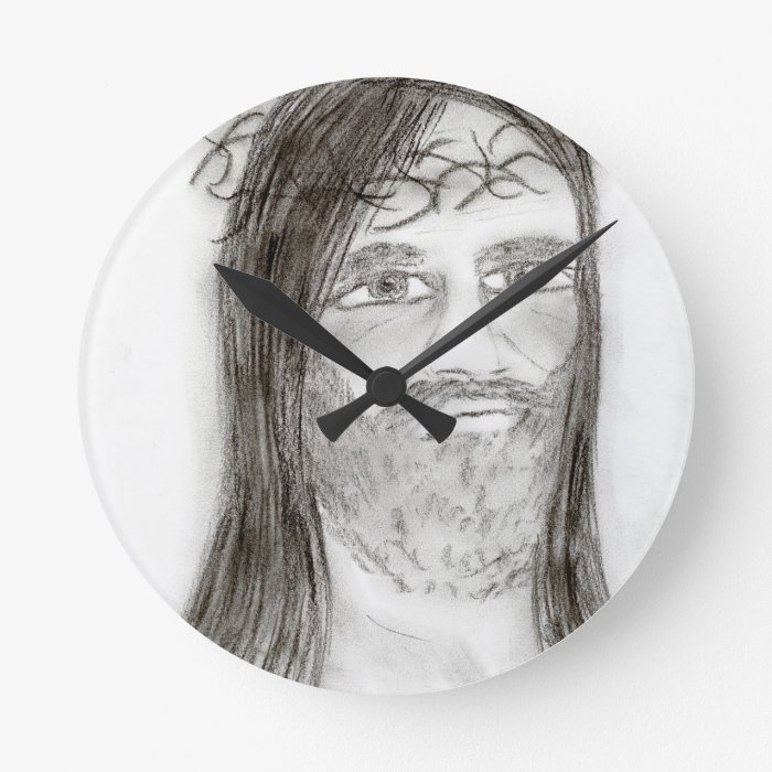 jesus in charcoal round clock