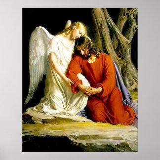 Jesus in Prayer at the Garden of Gethsemane Poster