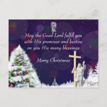 Jesus in Snow Holiday Postcard
