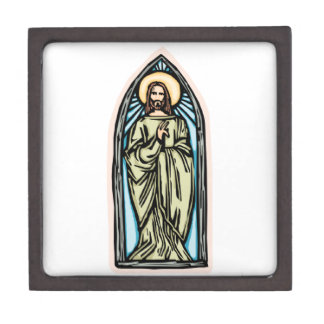 Jesus in Stained Glass Premium Jewelry Boxes