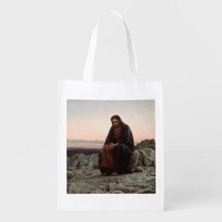 Jesus in the Desert Reusable Grocery Bag