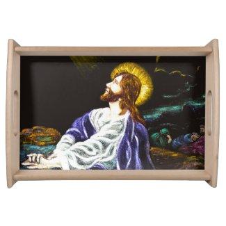 Jesus in the Garden of Gethsemane Service Trays