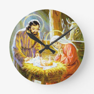 Jesus In The Manger Christmas Nativity Round Clock