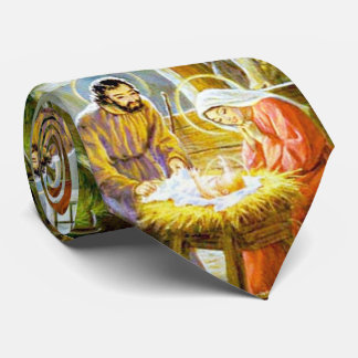 Jesus In The Manger Christmas Nativity Neck Tie