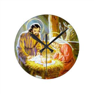 Jesus In The Manger Christmas Nativity Round Clock