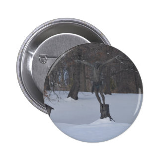 Jesus in the snow 2 inch round button