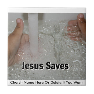 Jesus In Water With Two Thumbs Up Church Promotion Ceramic Tile