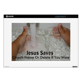 """Jesus In Water With Two Thumbs Up Church Promotion Decals For 15"""" Laptops"""