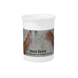 Jesus In Water With Two Thumbs Up Church Promotion Pitcher