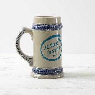 Jesus inside beer stein