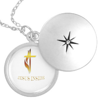 Jesus inside Christian products Round Locket Necklace