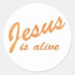 Jesus is alive effet orange round stickers