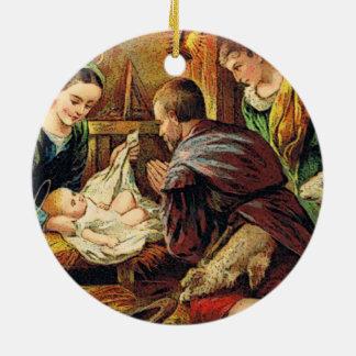 JESUS IS BORN CERAMIC ORNAMENT