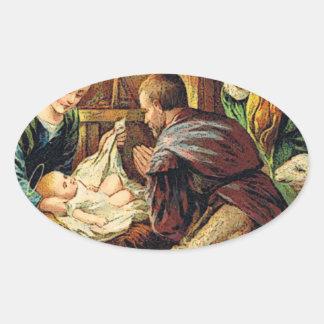 JESUS IS BORN OVAL STICKER