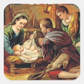 JESUS IS BORN SQUARE STICKER