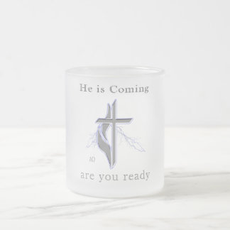 Jesus is coming frosted glass coffee mug