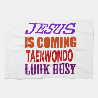 JESUS IS COMING TAEKWONDO LOOK BUSY HAND TOWEL