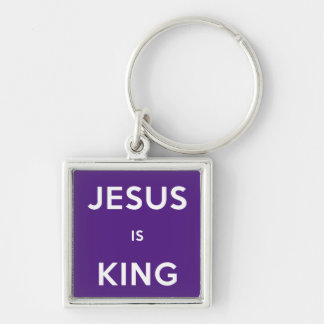 Jesus is King Silver-Colored Square Keychain