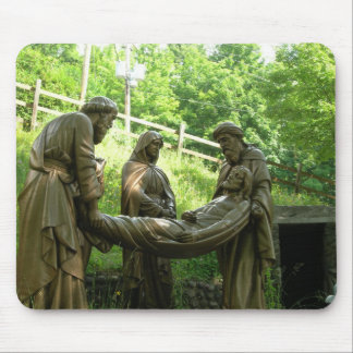 Jesus is laid in the tomb - 14th station mouse pad