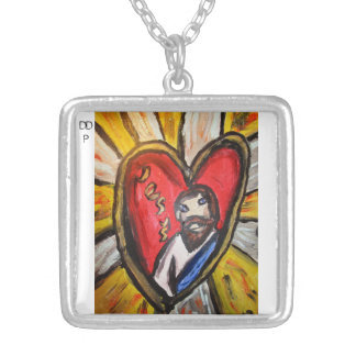 jesus is light shine silver plated necklace