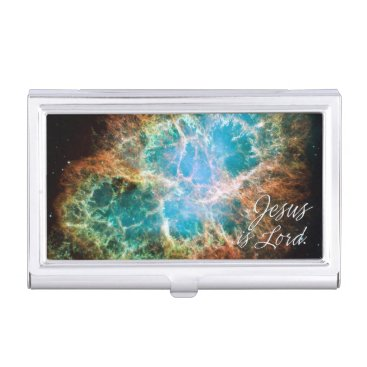 Professional Business Jesus is Lord 3-Crab Nebula Business Card Holder