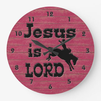 Jesus is Lord Bronc Rider Large Clock