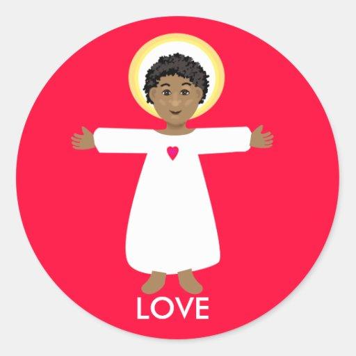 Jesus is love classic round sticker