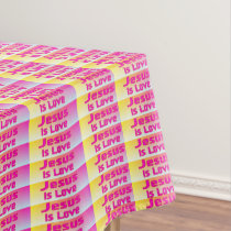 Jesus Is Love (pastel plaid) Tablecloth