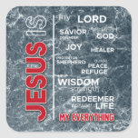Jesus is my Everything Word Cloud Square Sticker