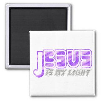 Jesus is my light 2 Fushia Gris. 2 Inch Square Magnet