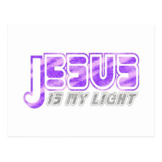 Jesus is my light 2 Fushia Gris. Postcard