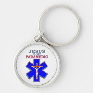 JESUS IS MY PARAMEDIC Silver-Colored ROUND KEYCHAIN